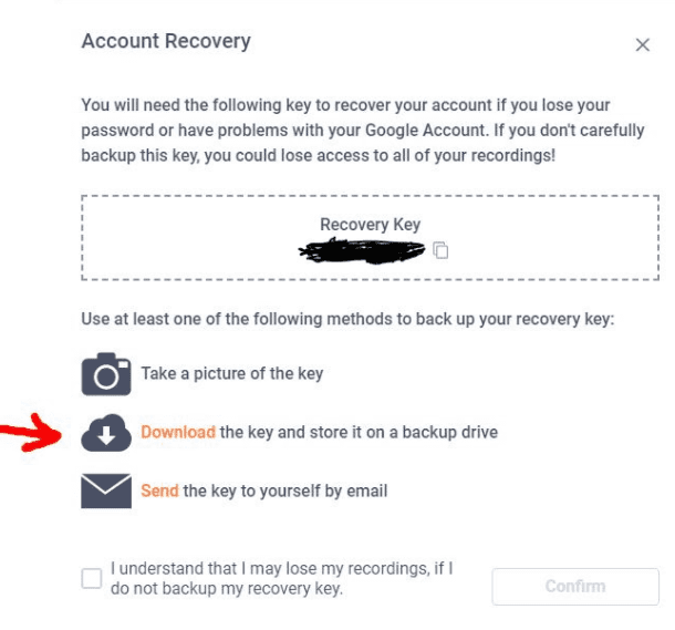 How to download the account recovery key