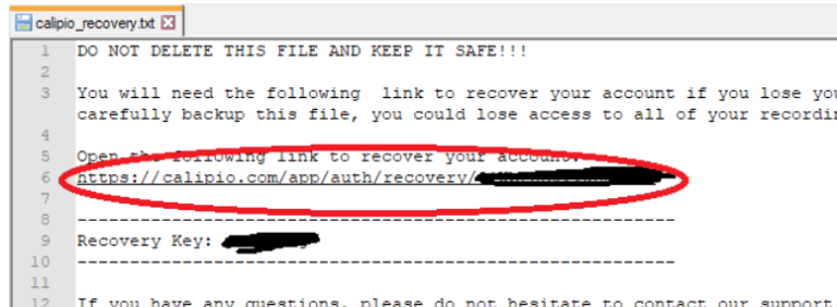 open link from recovery key file